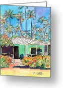 Tropical Island Greeting Cards - Hawaiian Cottage I Greeting Card by Marionette Taboniar
