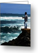 Hawaiian Food Greeting Cards - Hawaiian Fisherman Greeting Card by Marilyn Hunt