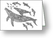 Tribal Drawings Greeting Cards - Hawaiian Humpbacks Greeting Card by Carol Lynne