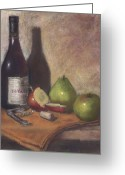 Cocktails Pastels Greeting Cards - Hawley Wine Tasting Greeting Card by Ellen Minter