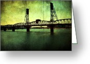 Pdx Greeting Cards - Hawthorne Bridge Greeting Card by Cathie Tyler