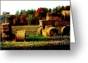 Dk Brown Greeting Cards - Hay Bail Tractor  Greeting Card by Marsha Heiken