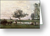 Riviere Greeting Cards - Haycart beside a River  Greeting Card by Jean Baptiste Camille Corot