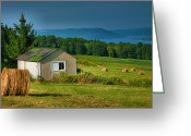 Shed Greeting Cards - Hayfield And Lake II Greeting Card by Steven Ainsworth