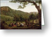 Sat Painting Greeting Cards - Haymakers Picnicking in a Field Greeting Card by Jean Louis De Marne