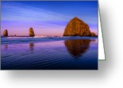 Oregon Photo Greeting Cards - Haystack Sunrise Greeting Card by Brian Bonham