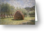 Green Field Painting Greeting Cards - Haystacks at Giverny Greeting Card by Claude Monet