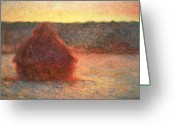 Hay Painting Greeting Cards - Haystacks at Sunset Greeting Card by Claude Monet