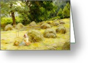 Shepherdess Painting Greeting Cards - Haytime Greeting Card by Rosa Appleton