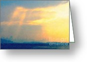 Treasure Island Greeting Cards - Hazy Light Over San Francisco Greeting Card by Wingsdomain Art and Photography