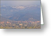 James Insogna Greeting Cards - Hazy Low Cloud Morning Boulder Colorado University Scenic View  Greeting Card by James Bo Insogna
