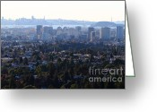 Port Of San Francisco Greeting Cards - Hazy San Francisco Skyline Viewed Through The Oakland Skyline . 7D11341 Greeting Card by Wingsdomain Art and Photography