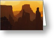 Silhouettes Greeting Cards - Hazy Sunrise over Canyonlands National Park Utah Greeting Card by Utah Images