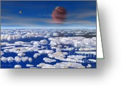Extrasolar Planet Greeting Cards - HD 168443 c and Moons Greeting Card by Lynette Cook