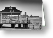 Beach Pictures Greeting Cards - HDR Beach Boardwalk Photos Pictures Art Sea Ocean Photograph Scenic Landscape Black White Greeting Card by Pictures HDR