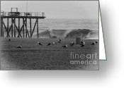 Beaches Greeting Cards - HDR Black White Beach Beaches Ocean Sea Seaview Waves Pier Photos Pictures Photographs Photo Picture Greeting Card by Pictures HDR