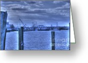 Ocean Pyrography Greeting Cards - HDR Fishing Boat across the Jetty Greeting Card by Pictures HDR