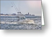 Beach Pictures Greeting Cards - HDR Fishing Boat Boats Sea Ocean Beach Beachtown Scenic Oceanview Photos Photography Pictures Photo  Greeting Card by Pictures HDR