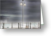 Beach Pictures Greeting Cards - HDR Lamp Post Beach Beaches Boardwalk Ocean Sea Effect Photos Pictures Photo Picture Photography New Greeting Card by Pictures HDR
