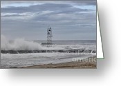 Beach Pictures Greeting Cards - HDR Light Tower Waves Splashing Beach Beaches Sea Oceanview Photos Pictures Photograph Photo Picture Greeting Card by Pictures HDR