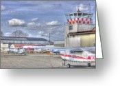 Airplanes Greeting Cards - HDR Planes Together under Control Tower Greeting Card by Pictures HDR