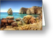 Oceanic Landscape Greeting Cards - HDR Rocky coast Greeting Card by Carlos Caetano