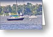 Sailboat Picture Greeting Cards - HDR SailBoat Sailboats Bay Harbor Ocean Sea Photos Pictures Photography Photograph Picture Buy Sell Greeting Card by Pictures HDR