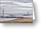 Beach Photo Greeting Cards - HDR Two Light Towers Beach Beaches Ocean Sea Seaview Oceanview Photos Pictures Photography Photo Pic Greeting Card by Pictures HDR