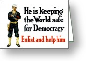 Great Mixed Media Greeting Cards - He Is Keeping The World Safe For Democracy Greeting Card by War Is Hell Store