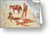 Remington Greeting Cards - He Lay Where he had Been Jerked Still as a Log  Greeting Card by Frederic Remington