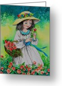 Flowered Dress Greeting Cards - He loves me-he loves me not Greeting Card by Val Stokes