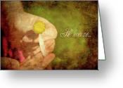 Holding Flower Greeting Cards - He Loves Me. Greeting Card by Kelly Nelson