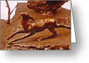 Nature Sculpture Greeting Cards - He Who Saved the Deer - deer detail Greeting Card by Dawn Senior-Trask
