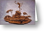 Wildlife Sculpture Greeting Cards - He Who Saved the Deer complete Greeting Card by Dawn Senior-Trask and Willoughby Senior