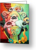 Surrealist Greeting Cards - Head Cleaners Greeting Card by Baron Dixon