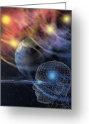 Sight Seeing Greeting Cards - Head In Space Greeting Card by Mehau Kulyk