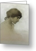 Head-shot Greeting Cards - Head of a Girl  Greeting Card by Franz Dvorak