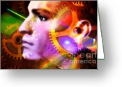 Creativity Digital Art Greeting Cards - Head of a mannequin Greeting Card by Bernard Jaubert