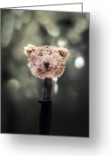 Cuddly Greeting Cards - Head Of A Teddy Greeting Card by Joana Kruse