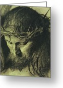Chalk Pastels Greeting Cards - Head of Christ Greeting Card by Franz Von Stuck