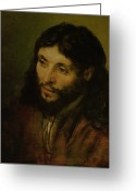 Jesus Greeting Cards - Head of Christ Greeting Card by Rembrandt