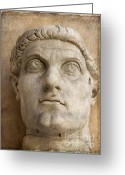 Head Piece Greeting Cards - Head of Emperor Constantine. Rome. Italy Greeting Card by Bernard Jaubert