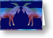 Horns Greeting Cards - Head to Head Greeting Card by Jenny Armitage