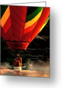 Balloon Festival Greeting Cards - Heading Back Up Greeting Card by Bob Orsillo