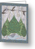 Goose Drawings Greeting Cards - Heading South Greeting Card by Pamela Schiermeyer