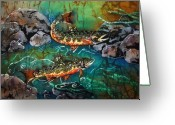 Fish Tapestries - Textiles Greeting Cards - Heading Upstream Greeting Card by Sue Duda