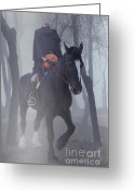 Ghosts Greeting Cards - Headless Horseman Greeting Card by Christine Till