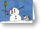 Drawing Greeting Cards Greeting Cards - Headless Snowman Greeting Card by Nancy Mueller