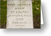 Paul Revere Greeting Cards - Headstone On Paul Reveres Grave Greeting Card by Tim Laman