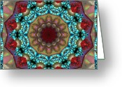 Rosy Greeting Cards - Healing Mandala 35 Greeting Card by Bell And Todd